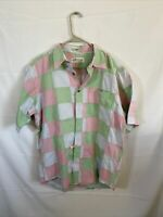 Orvis Mens Medium Madras Plaid  Shirt Patchwork Cotton Short Sleeve Button Down