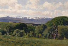 Oil painting View of the Guadarrama from El Plantio de Infantes summer scene art