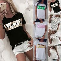 Women Short Sleeve Loose T Shirts Fashion Summer Casual Blouse Tops Shirt US