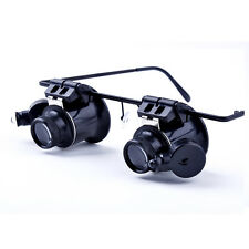 New 20x Watch Repair Loupes Binocular Magnifying Glasses LED Eyewear Magnifier