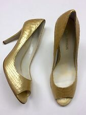 Enzo Angiolini 9M Eamerryann Gold Leather Snakeskin Peep Toe Pinup Shimmer Heel