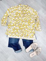 White Stuff Ladies Floral Mustard Mix Embellished Blouse Top Sz 14 Long Sleeves