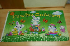 Fahne Flagge Frohe Ostern Oster Hasenkinder - 90 x 150 cm