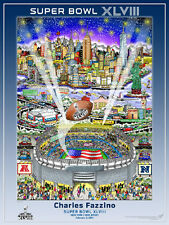 Super Bowl XLVIII New York New Jersey 2014 Official Pop Art POSTER by Fazzino