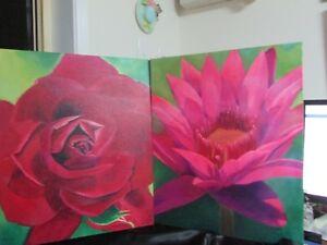2 FLOWER  PAINTINGS ACRYLIC ON CANVAS 51 CMS X 40 CMS