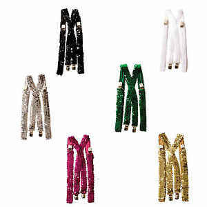 Dress-Up-America Sequin Suspenders - Adjustable Sequined Party Accessories