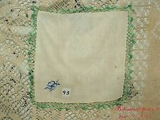 ANTIQUE VINTAGE HAND CROCHET EMBROIDERY  FINE LINENS HANDKERCHIEF COLLECTIBLE