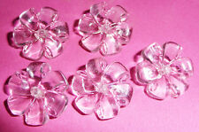 5 Very Pretty Vintage See Through Flower Buttons -1.7cm