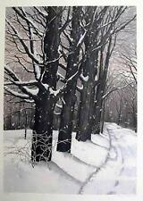 Helen Rundell Plate Sign/# Litho Country Lane wooded winter tree snow scene art