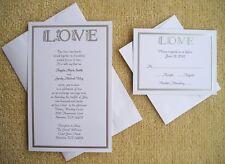100 Personalized Custom Wilton LOVE Silver Bridal Wedding Invitations Set