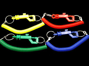 Spiral springy plastic keychain CHOICE OF 4 COLOURS or ALL FOUR!!