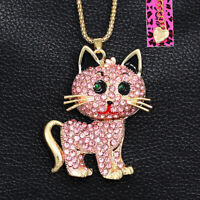 Pink Crystal Cute Kitten Cat Pendant Sweater Chain Betsey Johnson Necklace Gift