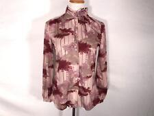 Vintage Devon mod pattern blouse purple floral 70s Womens long sleeve shirt M