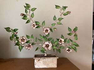 "Lovely 17"" ITALIAN TOLE CANDELABRA DOGWOOD BLOSSOM Chippy Paint Primitive Shabby"