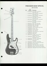 Orig Factory Fender Precision Bass Special Guitar Dealer Sheet(s) Parts List