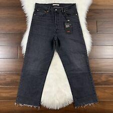 Levi's Size 31 Black Ribcage Straight Ankle Denim Jeans High Rise Raw Edge Hems
