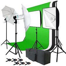 Photo Studio Kit 6x9 Ft Green White Black Muslin Backdrop Screen Lighting Studio