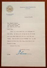 Sherman Adams Gov. New Hampshire 1952 letter re Eisenhower Presidential Campaign