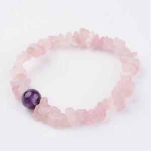 Rose Quartz Amethyst Bracelet Crystal Gemstone Bangle Chakra Stress Anxiety UK
