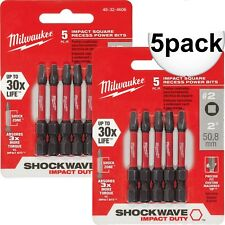 "Milwaukee 48-32-4606 5pk #2 Square Recess Shockwave 2"" Power Bit New"