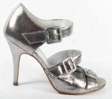 LADIES DUNE SILVER LEATHER SHOES SIZE 5 38 HEELS BUCKLES