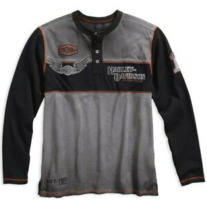 Herren Schwarz Grau XL Harley-Davidson Copperblock Long Sleeve Shirt Hemd Gr