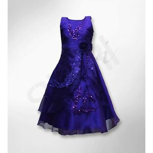 Girls Dresses Cadbury Purple Layered Flower Gowns Girl Dress Wedding Party Prom