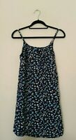 womens floral ditsy dress size small sleeveless scoop tie neck summer chic blue