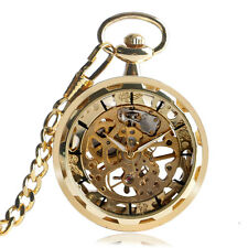 Gold Steampunk Mens Mechanical Skeleton Transparent Vintage Pocket Watch Gift