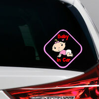 Baby Girl in Car Funny Novelty Car Bumper Window Sticker Decal Full Colour
