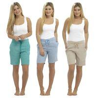 Ladies Womens Casual Linen Shorts Size 10 12 14 16 18 Blue Beige Green