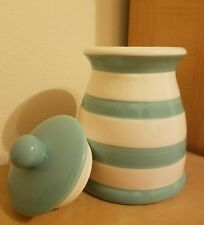 """NEW GRACE'S PANTRY 8 1/2"""" BLUE WHITE STRIPED CANISTER COOKIE JAR Home Decor"""