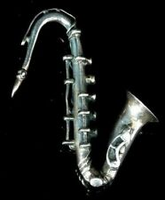 Solid Silver Saxophone Pendant Necklace London Circa 1960