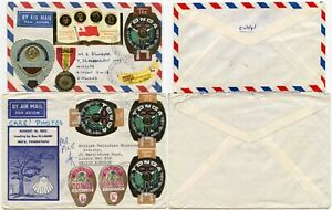 TONGA SELF ADHESIVES MULTI FRANKING + ILLUSTRATED COMMERCIAL COVERS AIRMAIL 1972