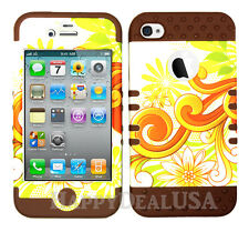KoolKase Hybrid Silicone Cover Case for Apple iPhone 4 4S - Flower Daisy 83