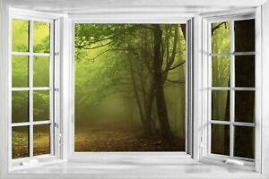 3D Effect Window Bay Misty Forest Trees Sticker Wall Poster Vinyl GA2--156