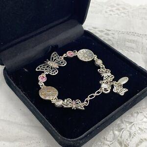 PILGRIM Sparkly Butterfly Bracelet Silver Tone Pink Yellow Enamel Flowers Charm