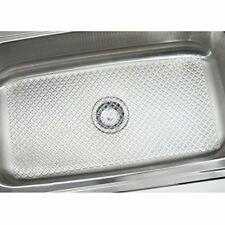 mDesign Starry Kitchen Sink Protector Mat - Extra Large, Clear