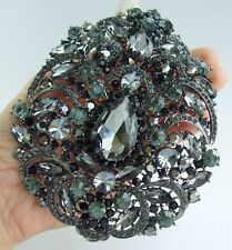 "Teardrop Brooch Pin Pendant 04045C8 4.92"" Black Gray Rhinestone Crystal"