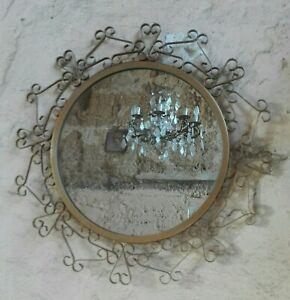 Antik Spiegel aus Metall Golden Stil Chaty Jahre 70 Vintage