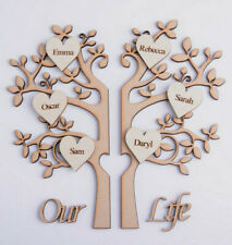 Wooden Family Tree Shape Split into 2 Halves & Personalised Hearts & Our Life