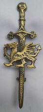 "Celtic Welsh Dragon Kilt Pin Sword Antique Finish 4""/Welsh Dragon Emblem Pins"