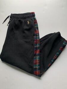 Polo Ralph Lauren Sweatpants Black Plaid Stripe Gold Pony Size Mens XL Pajamas