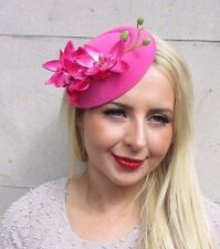 Hot Pink Orchid Flower Pillbox Hat Fascinator Rockabilly 50s Hair Clip Vtg 3245