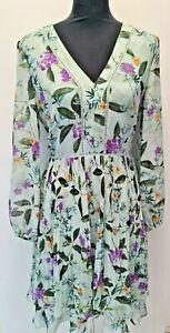 OASIS  Summer Bloom Pleated Midi Dress in Mint Sizes 6-8-10-12-14-16