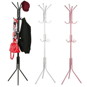 12 Hooks Coat Hanger Jacket Rack Umbrella Clothes Holder Hat Tree Stand Metal UK