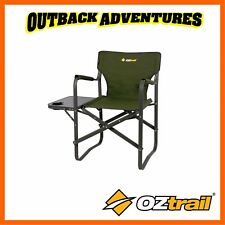 OZTRAIL DIRECTORS CLASSIC CHAIR WITH SIDE TABLE - GREEN CAMPING CHAIR