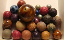 25 Marbles Antique Vintage Clay Bennington Red Brown Green Old Time Toys