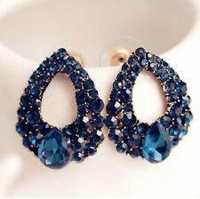 VINTAGE GORGEOUS SEA BLUE DROP CLUSTER CRYSTAL STUD EARRINGS BRIDAL LADIES  UK