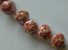 10 Glazed Porcelain Rose Beads, Pink, 20 mm. Jewellery Making/Charm/Bead Crafts